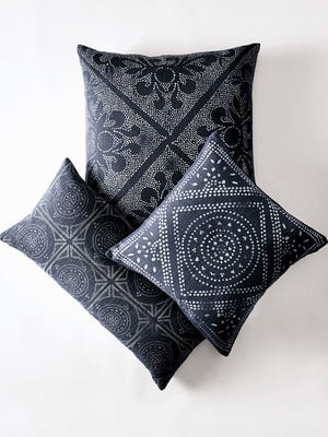 Indigo lends a modern edge to traditional Hmong fabrics in mosaic, diamond and scroll patterns. It can be a staple for classic or modern styles.