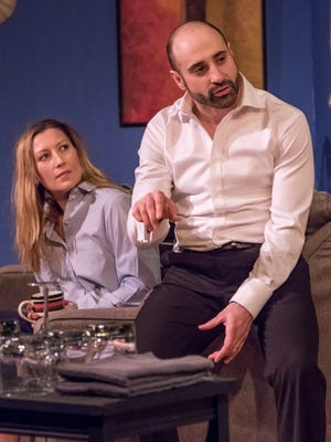 "Maggie Meyer and Matthew David in Jewish Ensemble Theatre's production of ""Disgraced."""