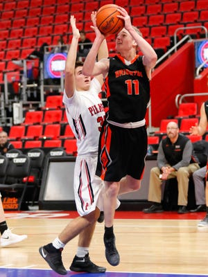 Jacob Dunn (11) rarely comes off the floor for Brighton, averaging 3.8 assists while running the offense.