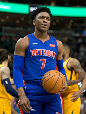 Pistons forward Stanley Johnson reacts during the first quarter of the loss to the Jazz on Tuesday in Salt Lake City.