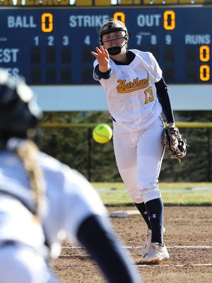 Hartland's Madelin Skene got the victory in relief in the second game of a softball sweep over Northville.