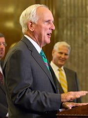Herbert Slatery speaks about his appointment as attorney general on Monday in the Tennessee Supreme Court chamber in Nashville. Slatery previously served as Republican Gov. Bill Haslam's chief legal counsel.
