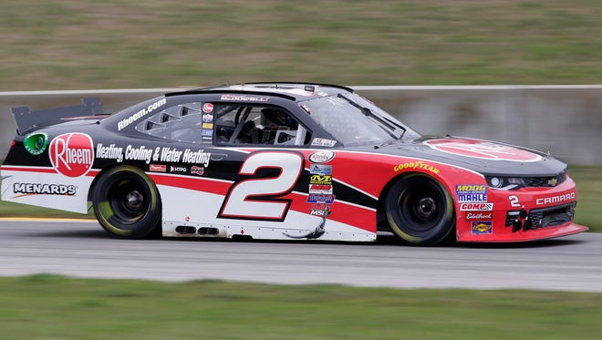 Michael McDowell (2) drives his Chevrolet through the Bill Mitchell bend during the NASCAR Xfinity Road America 180 Fired Up by Johnsonville Saturday August 27, 2016 at Elkhart Lake's Road America.