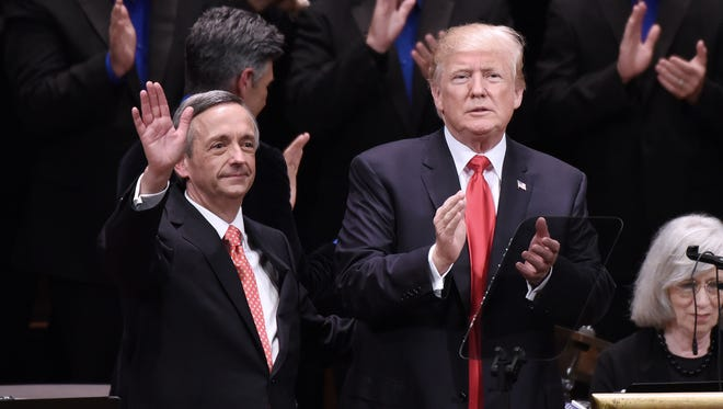 President Donald Trump and Pastor Robert Jeffress participate in the Celebrate Freedom Rally at the John F. Kennedy Center for the Performing Arts on July 1 in Washington, D.C.