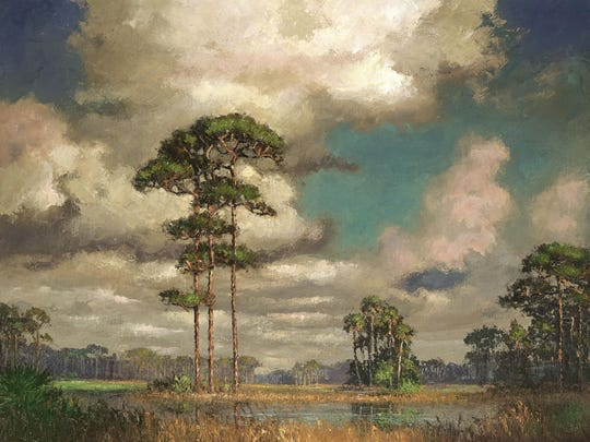"Explore the art of A.E. Backus, whose ""Pines in the Back Country"" is shown here, and his fellow, post-World War II landscape painters when ""Florida's First Highwaymen"" exhibition opens with a reception at 6 p.m Friday at the Gadsden Arts Center & Museum, 13 N. Madison St. on the courthouse square in downtown Quincy. The photography display ""Kevin Boldenow: Vanishing Florida"" is also opening. Suggested admission price is $5 general public. Visit www.gadsdenarts.org."