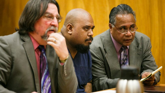Rino Simion, center, listens to Judge Cortland Geyer through interpreter Marcus Dipwek, right, on Monday, Feb. 13, 2017. Dipwek translated English to Chuukese for Simion, who is from the Marshall Islands. Simion's defense attorney Robert Botta appears on the left.
