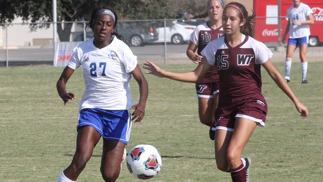 Angelo State University junior forward Trenadey Scott leads the Rambelles soccer team with 14 goals and 30 points in 2018.