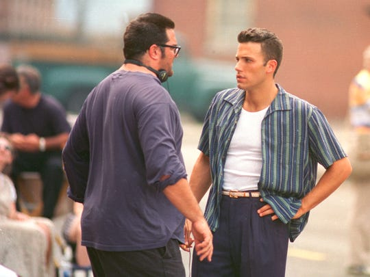 Director Mark Pellington, left, talks with actor Ben