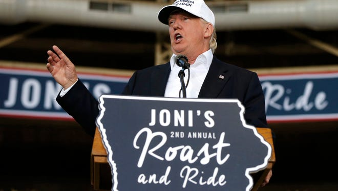 Republican presidential candidate Donald Trump speaks at Joni's Roast and Ride at the Iowa State Fairgrounds, in Des Moines, Iowa, Saturday, Aug. 27, 2016.