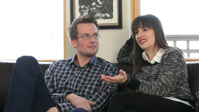 "John Green and Sarah Urist Green talk about ""The Art Assignment,"" a new PBS Digital Studios series that debuts on Thursday, Feb. 20, at their Indianapolis office."