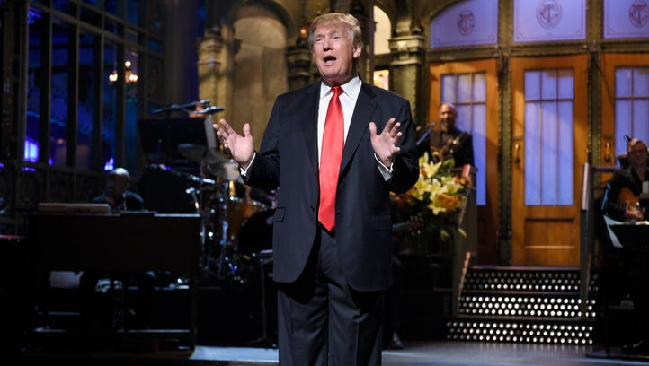 Republican presidential candidate Donald Trump appears