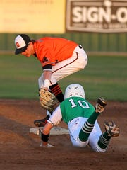 Burkburnett's Garrett Mooney attempts to pick off Iowa