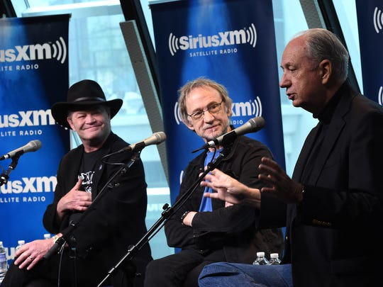 """Micky Dolenz (from left), Peter Tork and Michael Nesmith of The Monkees attend SiriusXM's """"Town Hall"""" with The Monkees at SiriusXM Studios on May 16 in Nashville, Tennessee."""