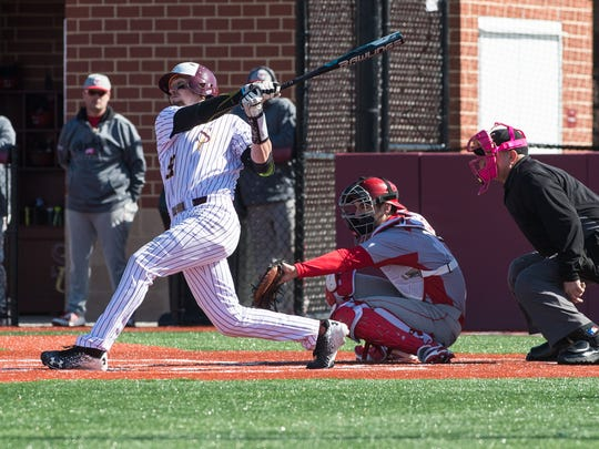 Salisbury University's Jack Barry (22) at bat during a game against Cortland on Saturday, Feb. 17, 2018.