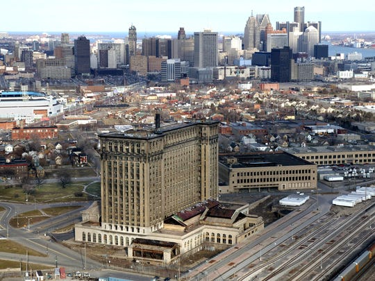 The Michigan Central Train Depot was slated to be renovated to become the new Detroit Police Department headquarters in March 2004. The skyline of downtown Detroit is in the background.