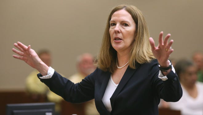 Monroe County DA Sandra Doorley explains to jurors that Thomas Johnson lll could have dropped his gun and raised his hands but instead chose to try to shoot at Officer Michael DiPaola.