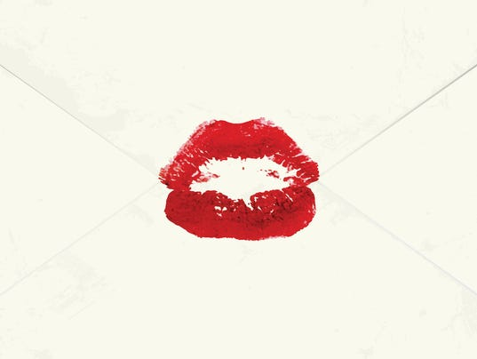 Envelope sealed with a kiss. Love message