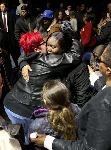 Carrie Houston, mother of Trevyan Rowe, was embraced by many after the vigil for her son, whose disappearance spurred an outpouring of community supported.