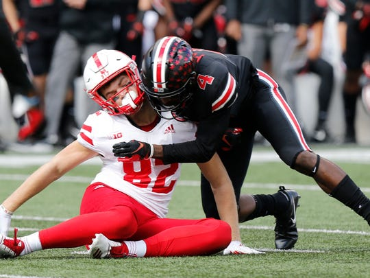 Ohio State defensive back Jordan Fuller of Norwood tackles Nebraska tight end Kurt Rafdal in a game this season. (AP Photo/Jay LaPrete)