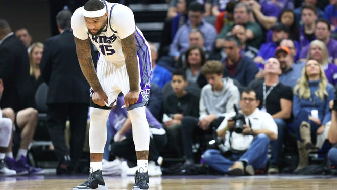 Sacramento Kings center DeMarcus Cousins pauses after being called for a technical foul during the first half of an NBA basketball game against the New Orleans Pelicans in Sacramento, Calif., Sunday, Feb. 12, 2017.