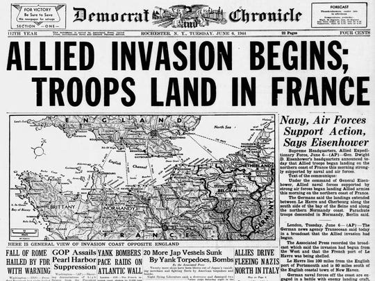 The Democrat and Chronicle's front page on June 6, 1944. Because of the time difference, U.S. newspapers were able to report the beginning of the invasion on the same day.