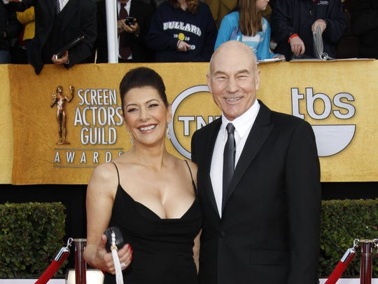 """Star Trek: The Next Generation"" co-stars Marina Sirtis and Patrick Stewart arrive at the the 17th annual Screen Actors Guild Awards at the Shrine Auditorium in Los Angeles in 2011."
