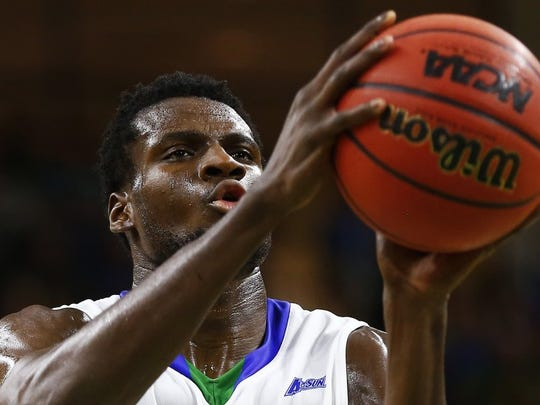 Florida Gulf Coast forward Marc Eddy Norelia (25) shoots free throws during the first half Tuesday, March 1, 2016 at Alico Arena in Fort Myers, Fla. The 4th seeded Florida Gulf Coast Eagles took on 5th seed Kennesaw State Owls in the first round of the 2016 Atlantic Sun Men's Basketball Tournament. FGCU won 74-64. (Corey Perrine/Staff)