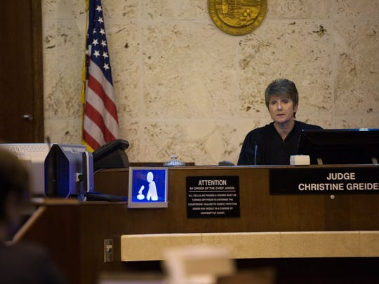 Judge Christine Greider discusses the details of a plea agreement for Jonathan Wessel in a Collier County courtroom on Friday, May 13, 2016, in East Naples. Wessel pleaded no contest to charges in seven robbery and two theft cases stemming from a string of burglaries in late 2014 and received a 20 year prison sentence in addition to eight years of probation. (David Albers/Staff)