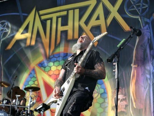 Anthrax lead guitarist Scott Ian jams April 30, 2016, at Fort Rock behind JetBlue Park in Fort Myers. JAMIE STODDARD/STAFF