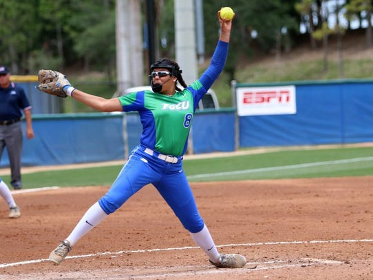 FGCU freshman Riley Randolph pitches during the Atlantic Sun Conference Softball Championship opening game against Kennesaw State on Thursday, May 12, 2016. FGCU advanced to Friday afternoon's semifinal game with a 2-0 victory over KSU. (Kelli Krebs / Staff)