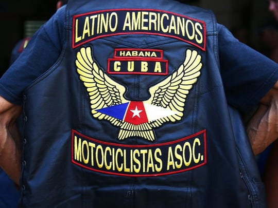 Members of the Association of Latin American Motorcyclists gather during a chapter meeting in Havana, Cuba on Saturday, March 26, 2016. Some harlistas, or Harley-Davidson bikers, are members of the Association of Latin American Motorcyclists chapter in Cuba. (Dorothy Edwards/Staff)