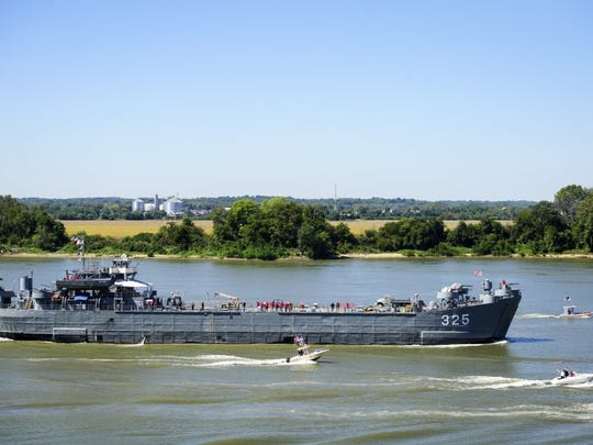 BRIEN VINCENT / COURIER & PRESS   The USS LST 325 sails down the Ohio River towards  Evansville, Ind. on Monday, September 23, 2013.