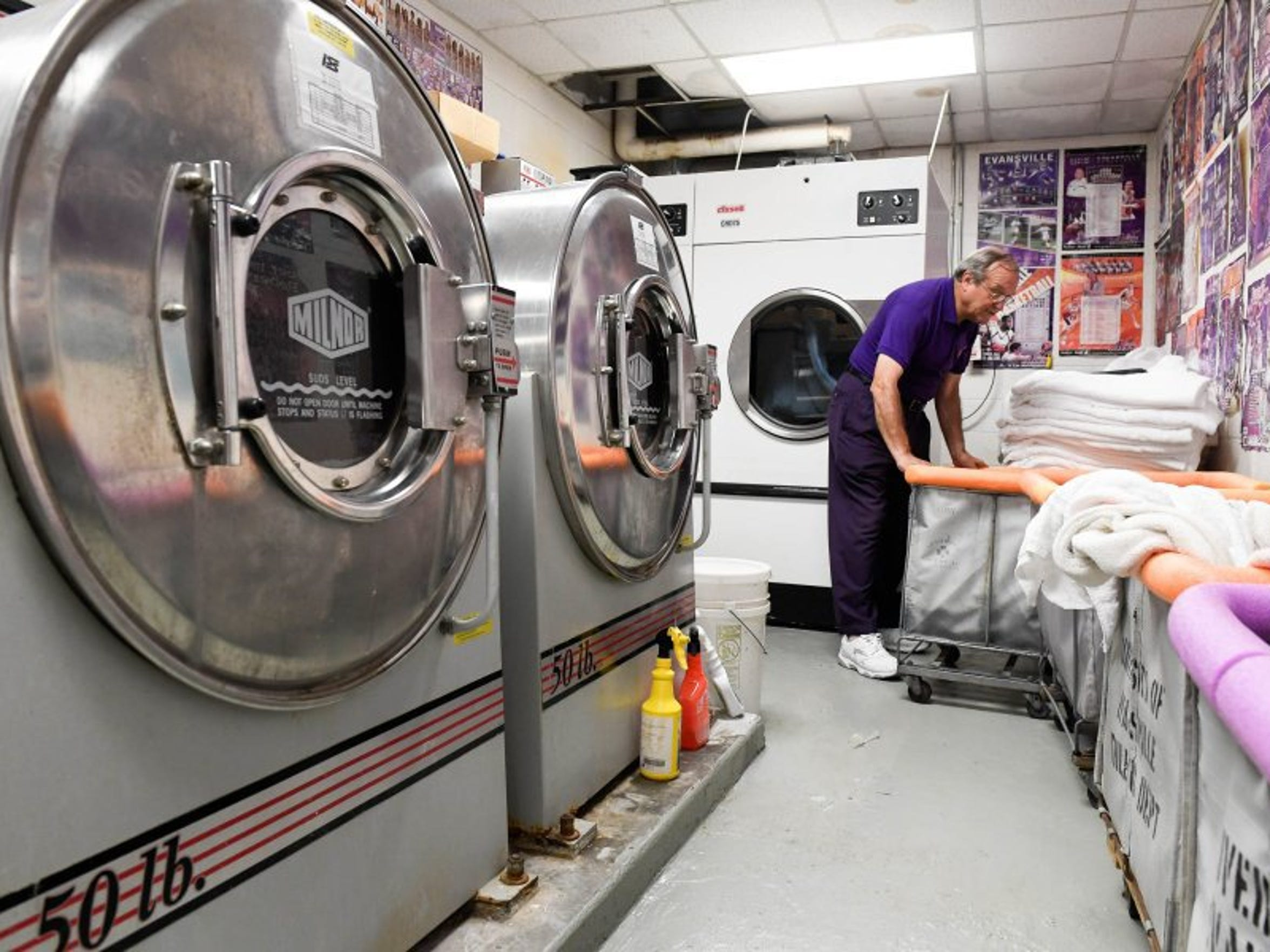 University of Evansville equipment manager Daryl Buente didn't get much of a break in the summertime. He worked alone, washing several-pound loads each day to keep locker rooms stocked with towels and practice clothes.