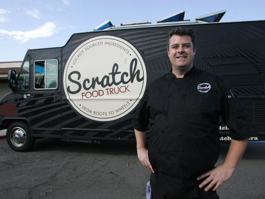 STAR FILE ART Chef Tim Kilcoyne poses with his Scratch food truck in 2014, three years before the debut of his Oxnard restaurant Scratch Sandwich Counter.