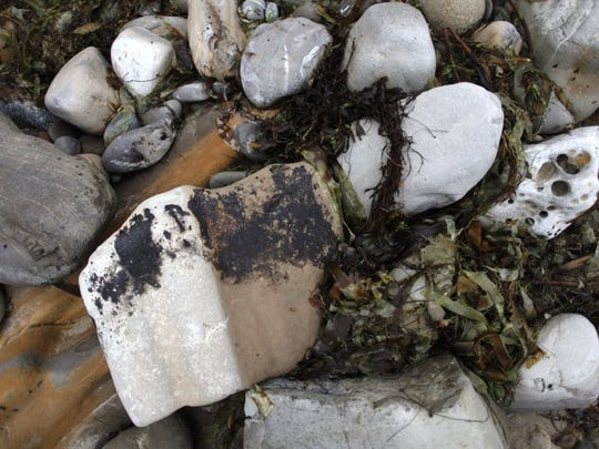 Remnants of an oil spill that occurred in May 2015 could be seen on many rocks along the shoreline at Refugio State Beach weeks later.