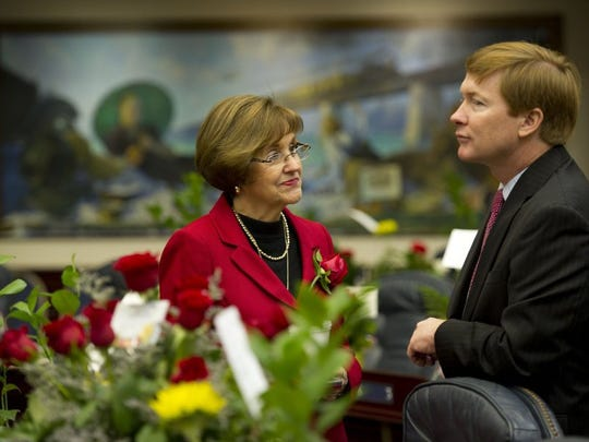Florida Rep. Gayle Harrell, R-Stuart, speaks with Commissioner of Agriculture Adam Putnam before a joint session with the Florida Senate and Florida House of Representatives on Jan. 12 at the Florida House of Representatives in Tallahassee during the 2016 Florida legislative session.