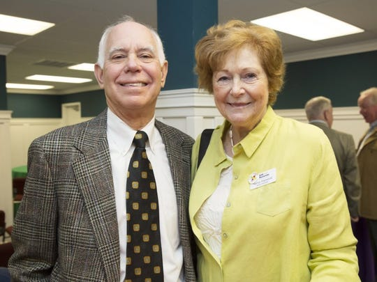 Philanthropists Sam Block and Nancy Hopwood pose at a recent fund-raising event. Block is the first person to repeat as winner of the Alma Lee Loy Community Service Award presented by the Indian River County Chamber of Commerce.