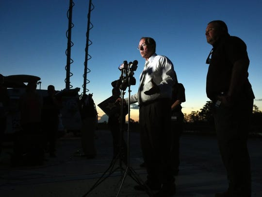 Martin County Sheriff William Snyder addresses the media concerning the location of Tricia Todd and the investigation into her murder May 26, 2016 during a news conference at the Hungryland Wildlife and Environmental Area main gate in Jupiter.