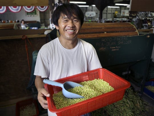 June 28, 2016- Zong Vue with his freshly shelled lady peas at the Agricenter International. Farmers Market