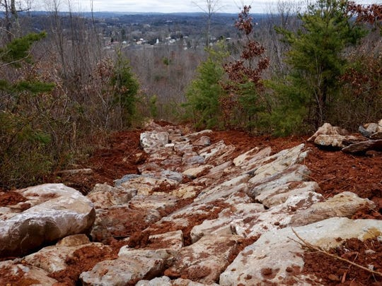 Pictured is part of the Devil's Racetrack, the expert trail at Baker Creek Preserve on Friday, March 4, 2016, in South Knoxville. Legacy Parks announces construction of the state-of-the-art mountain bike park on the 100-acre wood property that is part of the Urban Wilderness. The trail project is funded by the $100,000 grant from Bell Helmets won last summer by the Appalachian Mountain Bike Club. The construction also coincides with the Professional TrailBuilder's Association's Annual Sustainable Trail Conference that will be held all week in Knoxville, March 5-11.