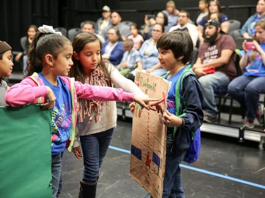 """Micah DeBenedetto/Special to the Caller-Times Team """"Shining Superstars"""" of Saenz Elementary in Alice compete in the """"Change in Direction"""" Challenge during Destination Imagination on Saturday, Feb. 27, 2016, at Veterans Memorial High School. The students chose to venture from a coffee shop to the North Pole, only ultimately to end up in a rain forest."""