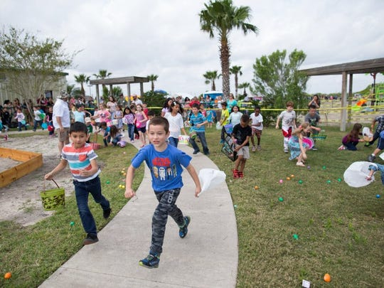 COURTNEY SACCO/CALLER-TIMES Kids run to find eggs after and Easter egg hunt begins Saturday, March 26, 2016, at the Fellowship of Oso Creek's 16th Annual Easter Festival.