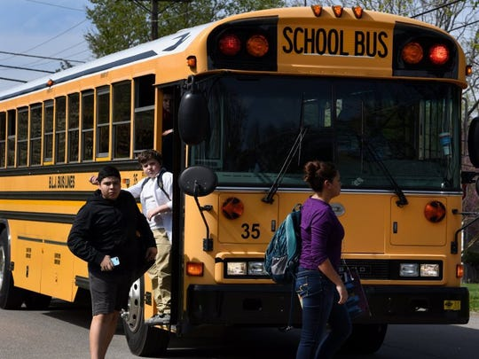 Knox County school bus No.35 delivers students home from Farragut High School Wednesday, March 30, 2016. (MICHAEL PATRICK/NEWS SENTINEL)