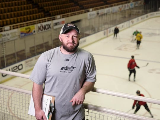 Mike Craigen, head coach for the Knoxville Ice Bears, is pictured during practice on Friday, March 13, 2015, at the Civic Coliseum. (Shawn Millsaps/Special to News Sentinel)