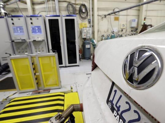 A Chattanooga-built Volkswagen Passat with a diesel engine is evaluated at the California Air Resources Board emissions test lab in El Monte, California.