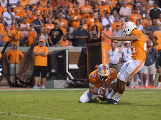 Tennessee placekicker Aaron Medley (25) kicks for a field goal against Appalachian State during the first half at Neyland Stadium on Thursday, Sept. 1, 2016. (MICHAEL PATRICK/NEWS SENTINEL)
