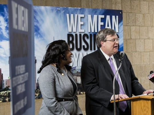 September 28, 2016 - Mayor Jim Strickland talks Wednesday about four initiatives the city has made to help strengthen small, minority and women-owned businesses. (Brad Vest/The Commercial Appeal)
