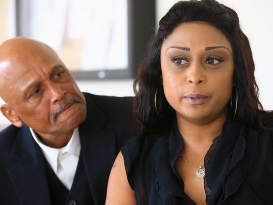GABE HERNANDEZ/CALLER-TIMES Lashonn Devones and her father Lester Jackson talk about how their family has been impacted by court proceedings that have spanned more than 20 years for her nephew-s killer, Larry Hatten, on Wednesday at the Nueces County Courthouse.