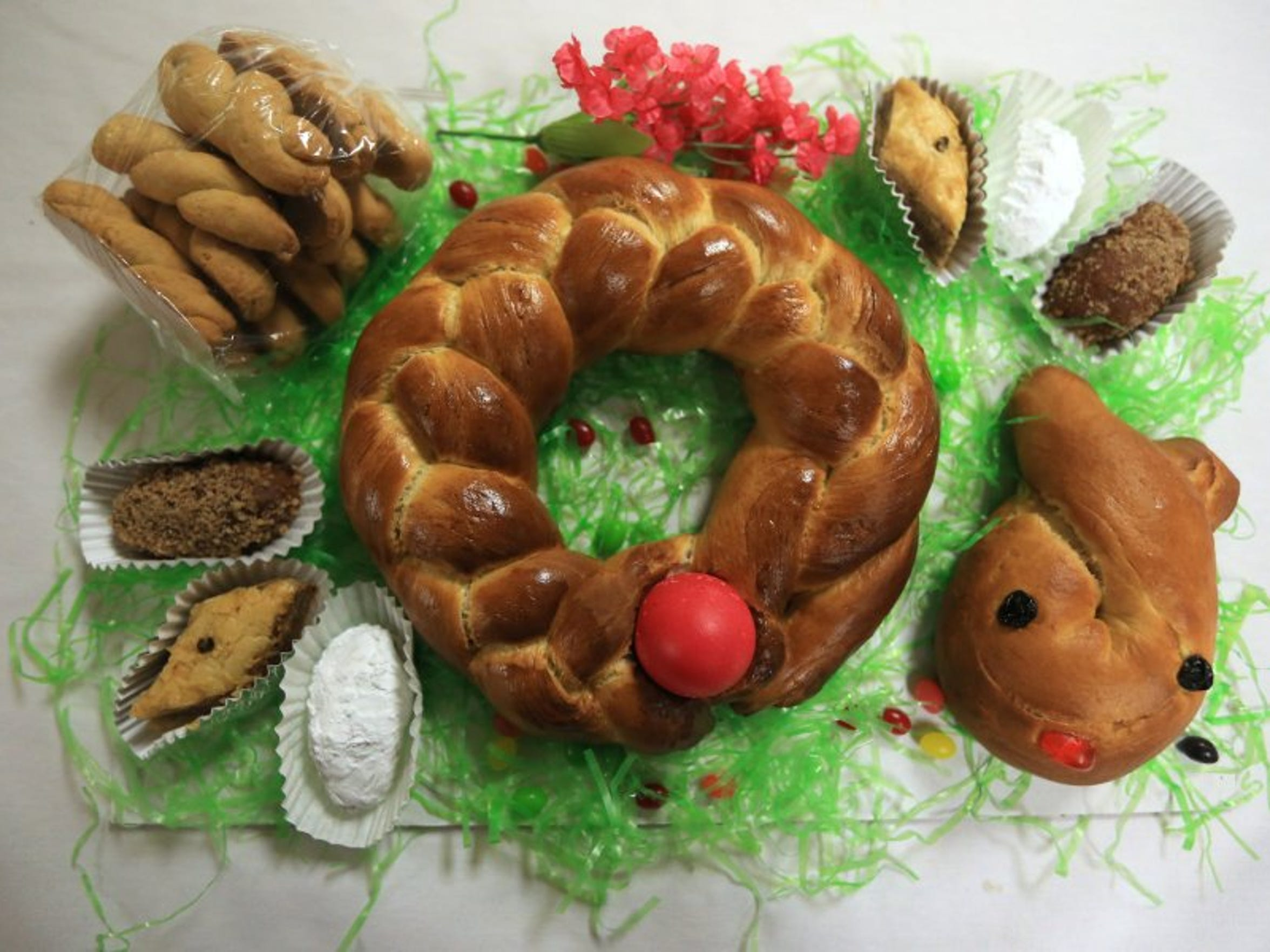 Rachel Denny Clow/Caller-Times The annual Easter Bake Sale at the St. Nicholas Greek Orthodox Church will include round and bunny breads, an assortment of Greek pastries and a new addition this year, Pastitsio, a macaroni dish with beef filling topped with béchamel sauce.
