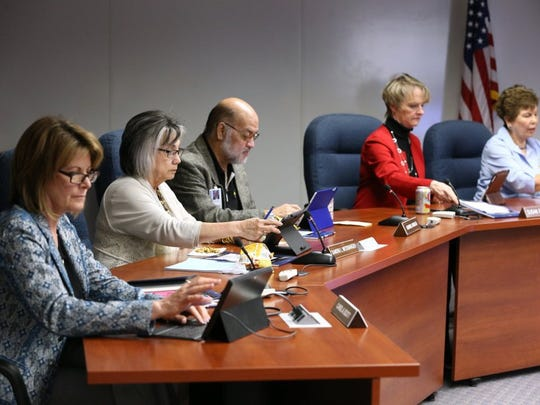 Rachel Denny Clow/Caller-Times Del Mar College regents Carol Scott (from left), Sandra Messbarger, Gabriel Rivas III, Susan Hutchinson and Elva Estrada attend a specially called meeting to discuss an investigation into regent Guy Watts on Tuesday at the college.